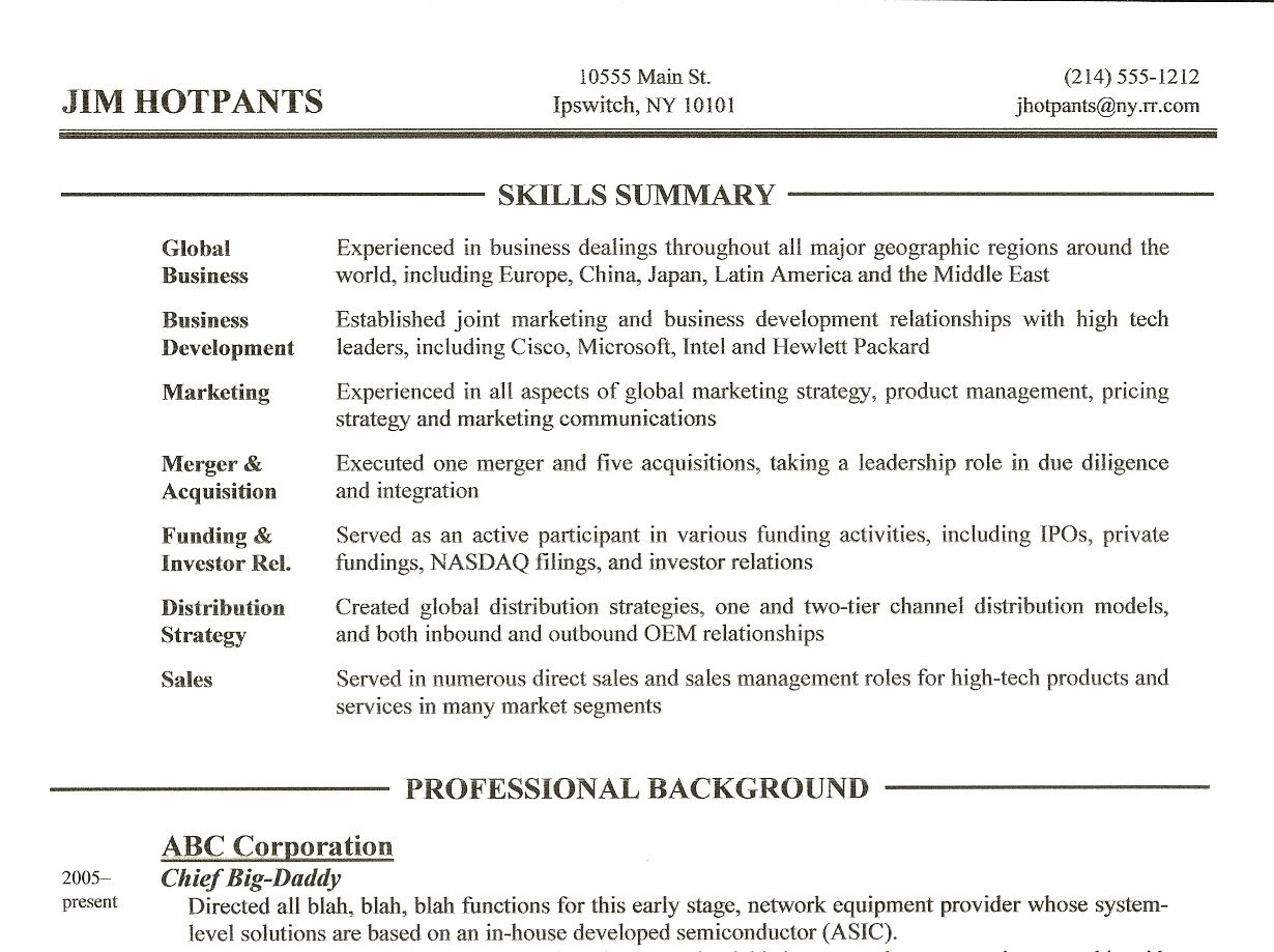 Resume Writing Tip 3 – Skills Summary Section