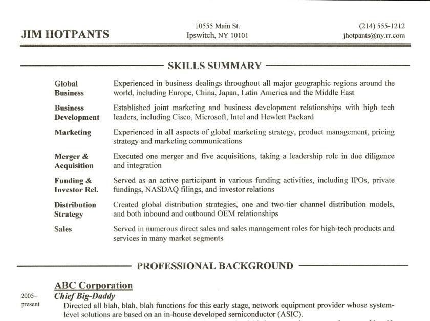 resume writing tip  3  u2013 skills summary section  u2013 gordon